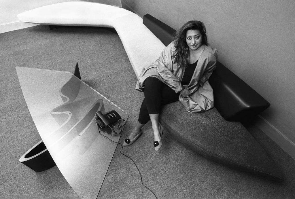 Iraqi architect Zaha Hadid in her London office, UK, circa 1985. (Photo by Christopher Pillitz/Getty Images)