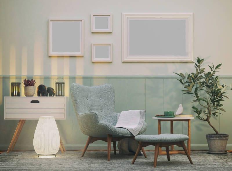Modern living room with carpet tiles