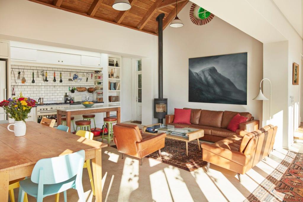 Interior of kitchen and living room open floorplan