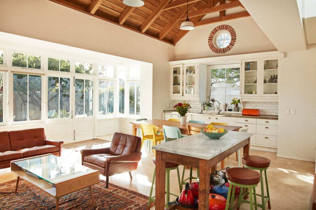 Living and dining room with open floor plan