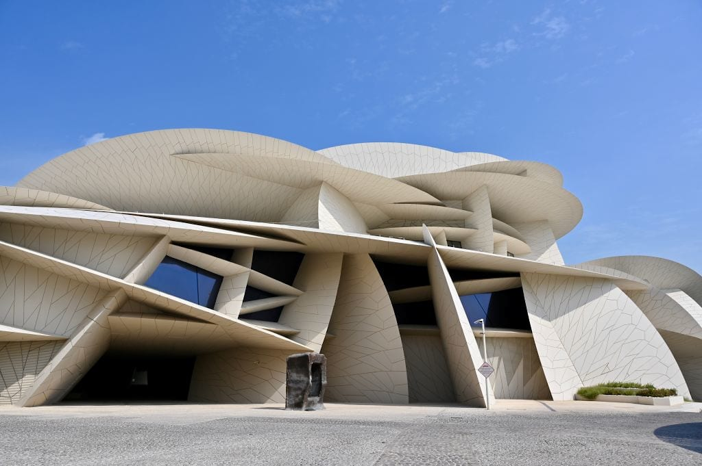 DOHA, QATAR - NOVEMBER 16: The National Museum of Qatar, designed by Jean Nouvel to look like the natural Desert Rose crystal that's found in Qatar, with inward-curving disks, intersections and cantilevered elements, opened on March 28th, 2019, with 1.5 kilometers of gallery space, giving voice to the unique story of Qatar and its people in animmersive and experiential manner in three chapters — Beginnings, Life in Qatar and The Modern History of Qatar on November 16, 2019 in Doha, Qatar. (Photo by Rubina A. Khan/Getty Images)