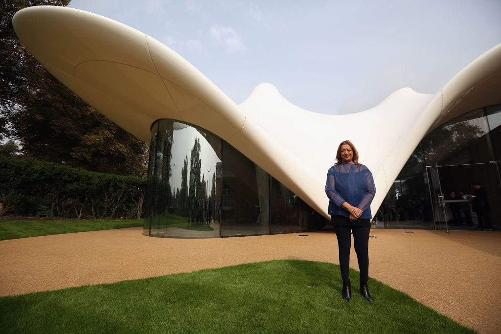 LONDON, ENGLAND - SEPTEMBER 25: Architect Zaha Hadid poses for a photograph in front of the redeveloped Serpentine Sackler Gallery in Hyde Park on September 25 2013 in London, England. The renovation of the 1805 gunpowder store, located on the north side of the Serpentine Bridge, was designed by Zaha Hadid Architects. The new gallery, restaurant and social space will officially open to the public on September 28, 2013. (Photo by Oli Scarff/Getty Images)