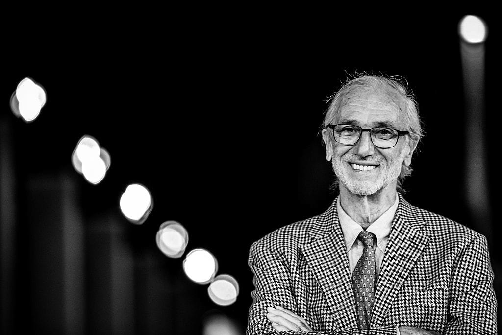 ROME, ITALY - OCTOBER 17: (EDITORS NOTE: Image has been converted to black and white) Architect Renzo Piano attends a red carpet during the 10th Rome Film Fest on October 17, 2015 in Rome, Italy. (Photo by Franco Origlia/Getty Images)