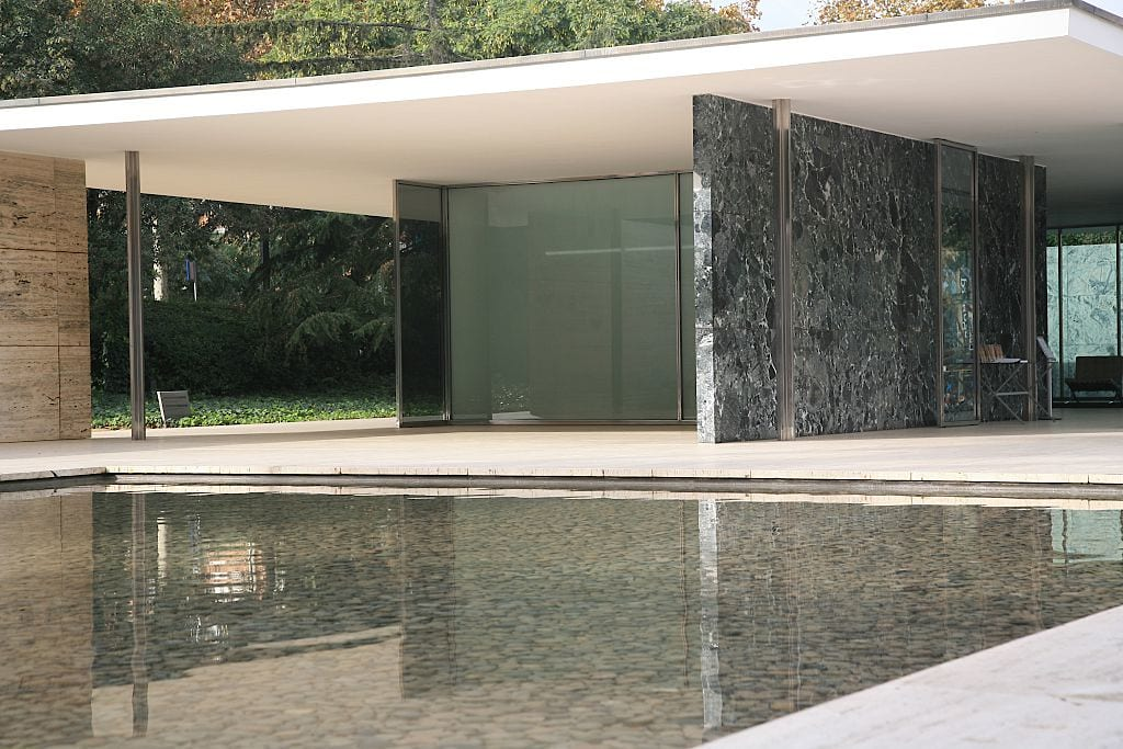 (GERMANY OUT) Europe, Spain, Barcelona: Barcelona Pavilion for the International exhibition 1929 built by Ludwig Mies van der Rohe - the big pool (Photo by Heilke Heller/ullstein bild via Getty Images)