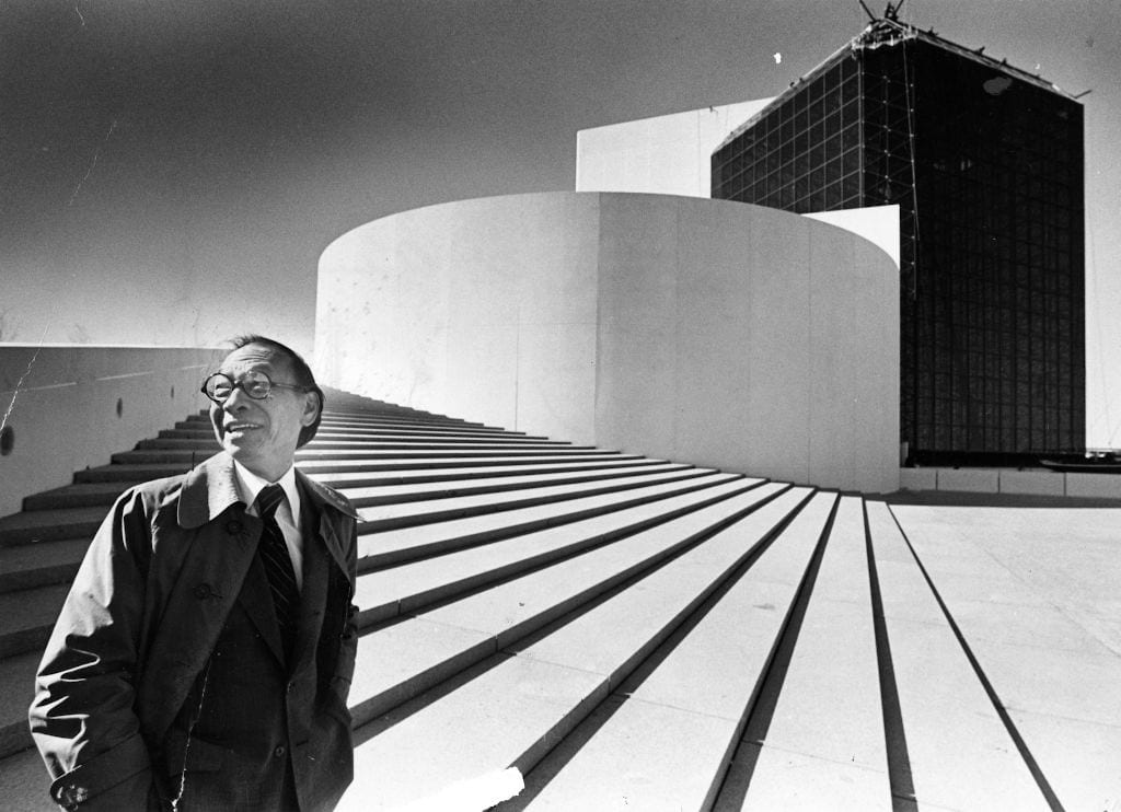 BOSTON, MA - OCTOBER 16: Architect I.M. Pei stands outside the John F. Kennedy Presidential Library and Museum in Boston, which he designed, on Oct. 16, 1979. It was the first time he had seen the building in person since designing it. (Photo by Ted Dully/The Boston Globe via Getty Images)