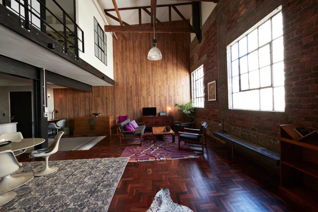 Loft apartment with open floorplan, eclectic design