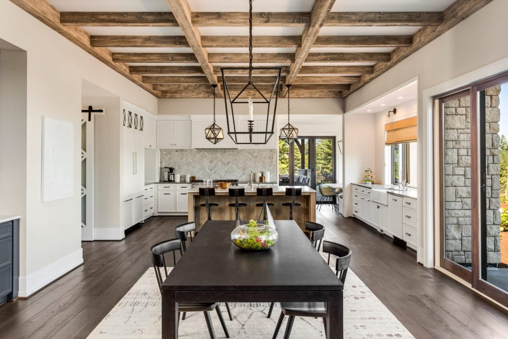 Modern farmhouse dining room and kitchen with open floorplan