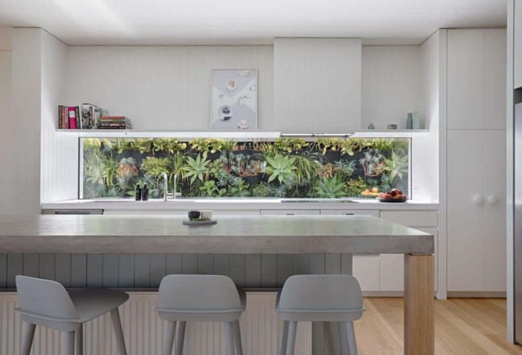 Greenery in the Kitchen Window Backsplash