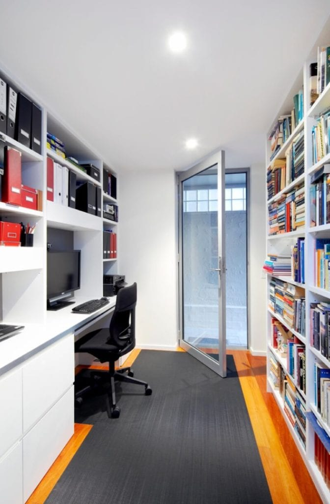 Home Office Organization Full Wall Shelving