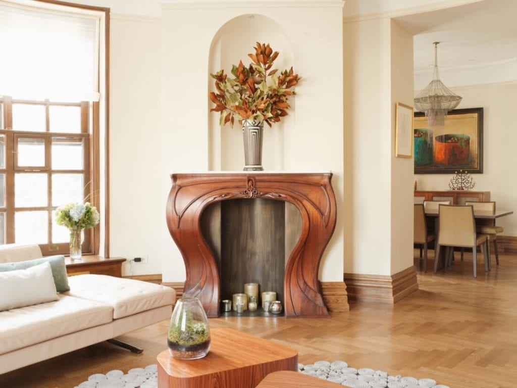 Indoor Fireplaces Curved Wood Style