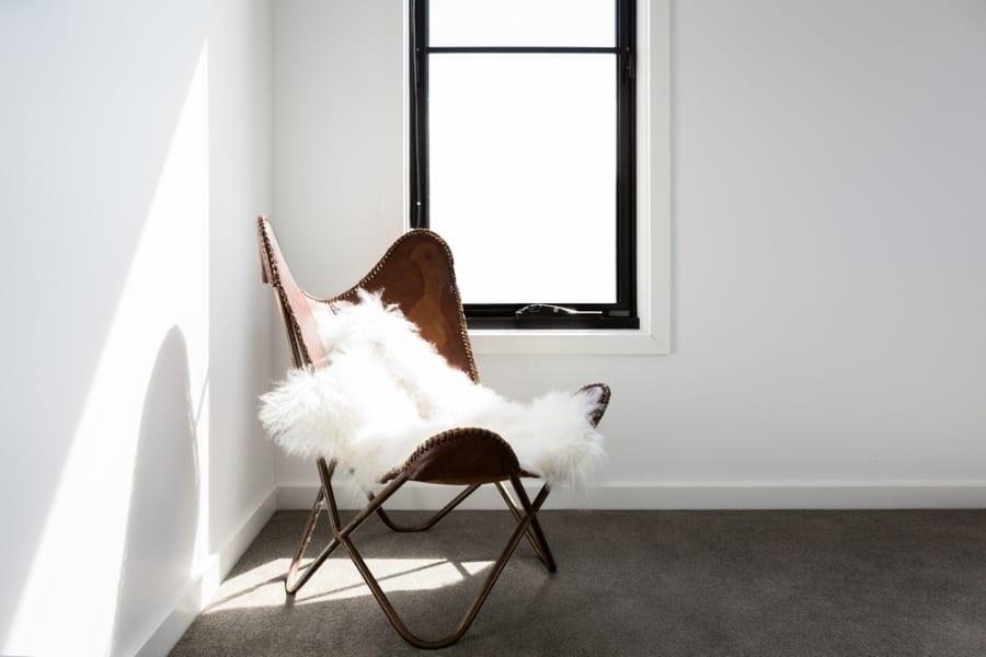 Sheepskin draped over chairs