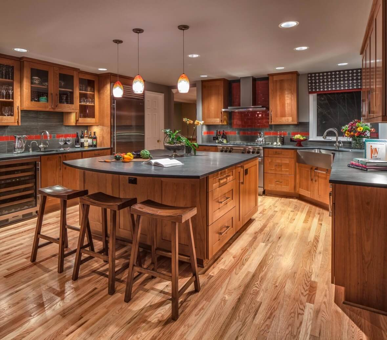 Kitchen Backsplash Contrast Accent Red