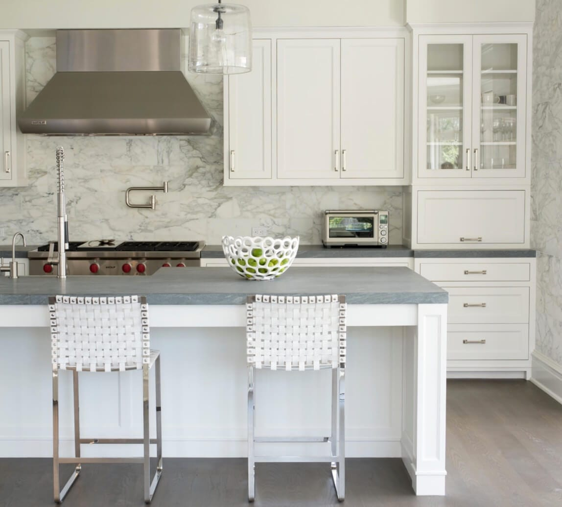 Kitchen Backsplash Contrast Marble Texture