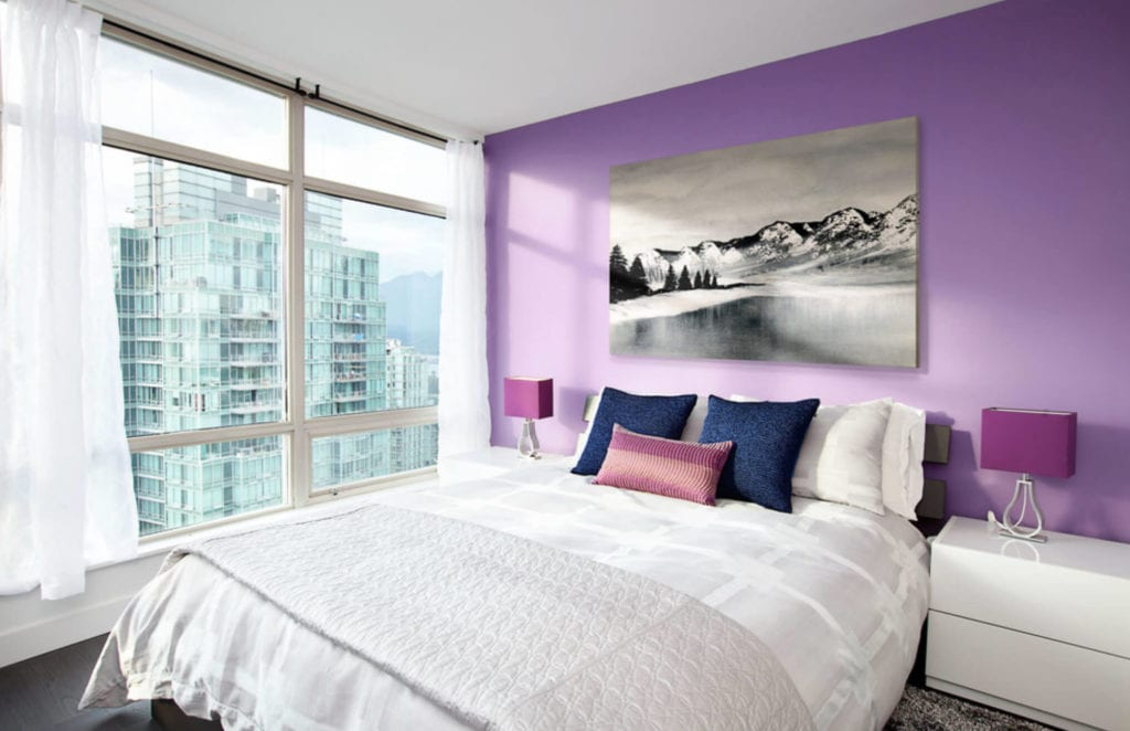 lilac accent wall