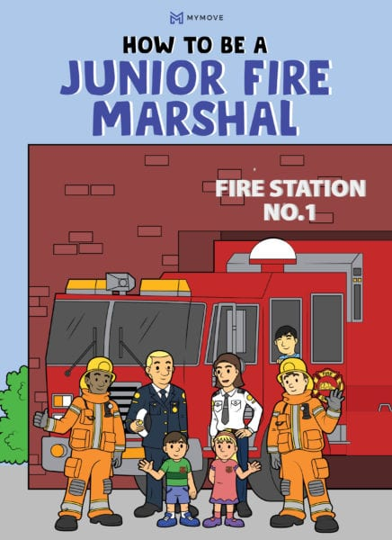 Illustration of children and firefighters in front of a fire station