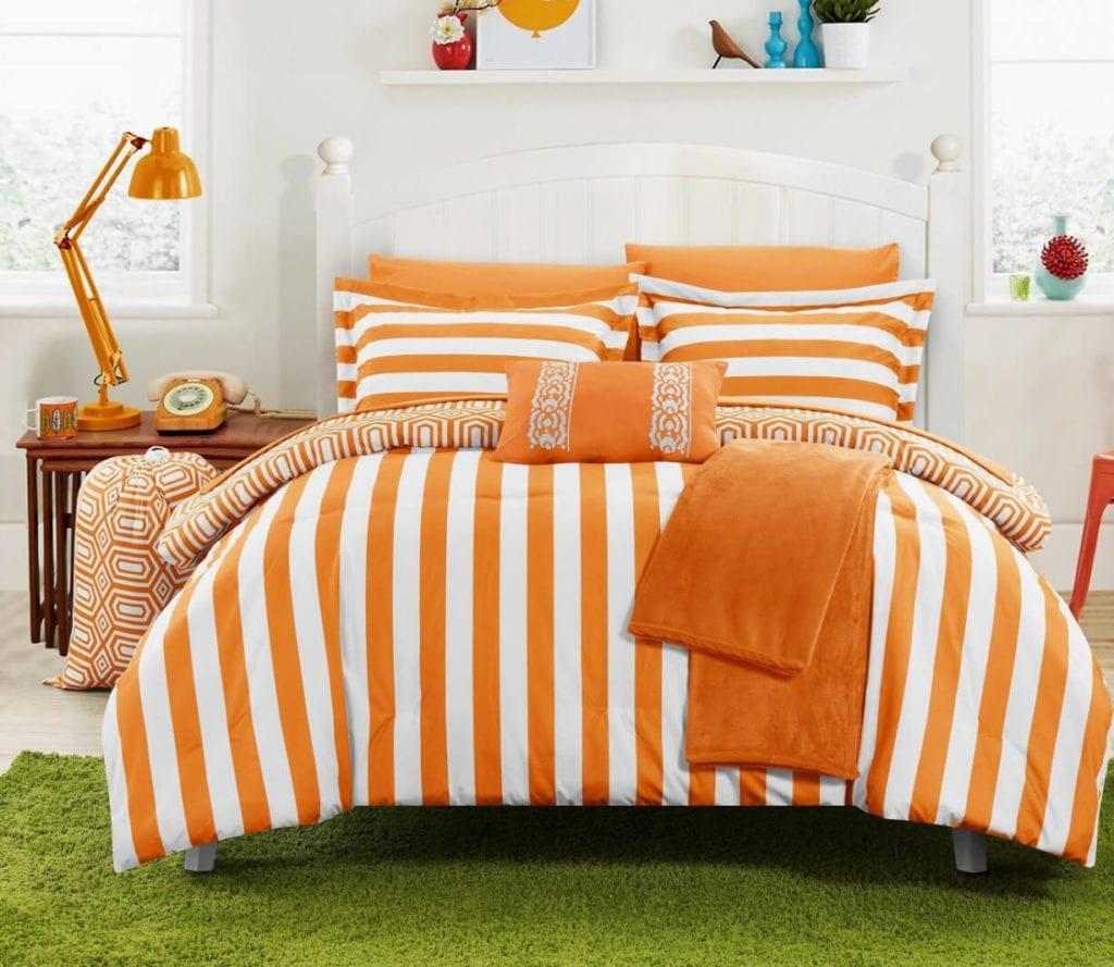Striped dorm room bedding