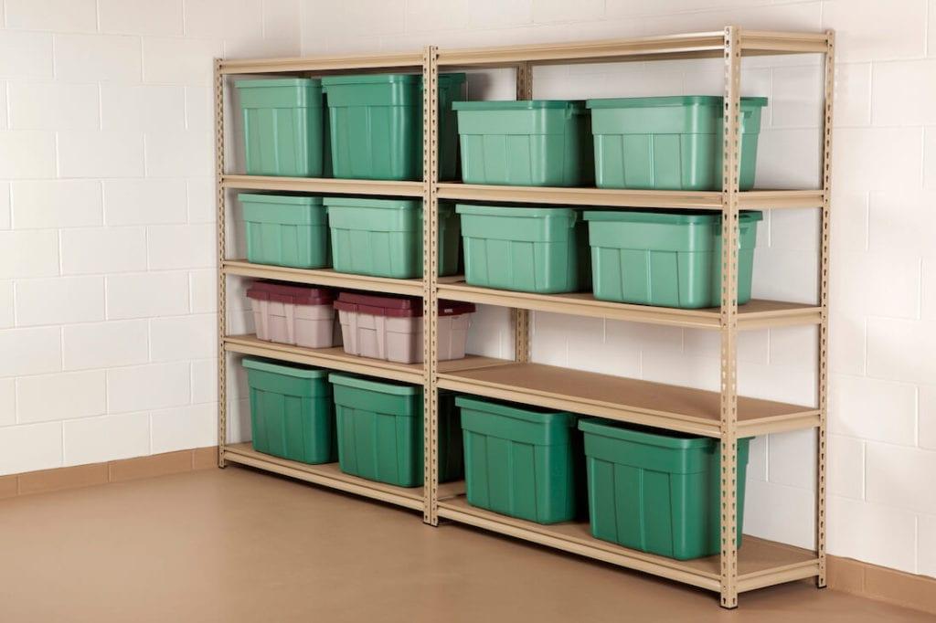 Organized Basement Rubber Bins