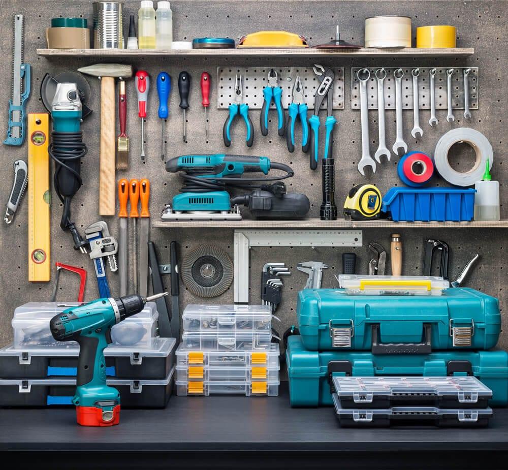 Organized Basement Work Area Tools