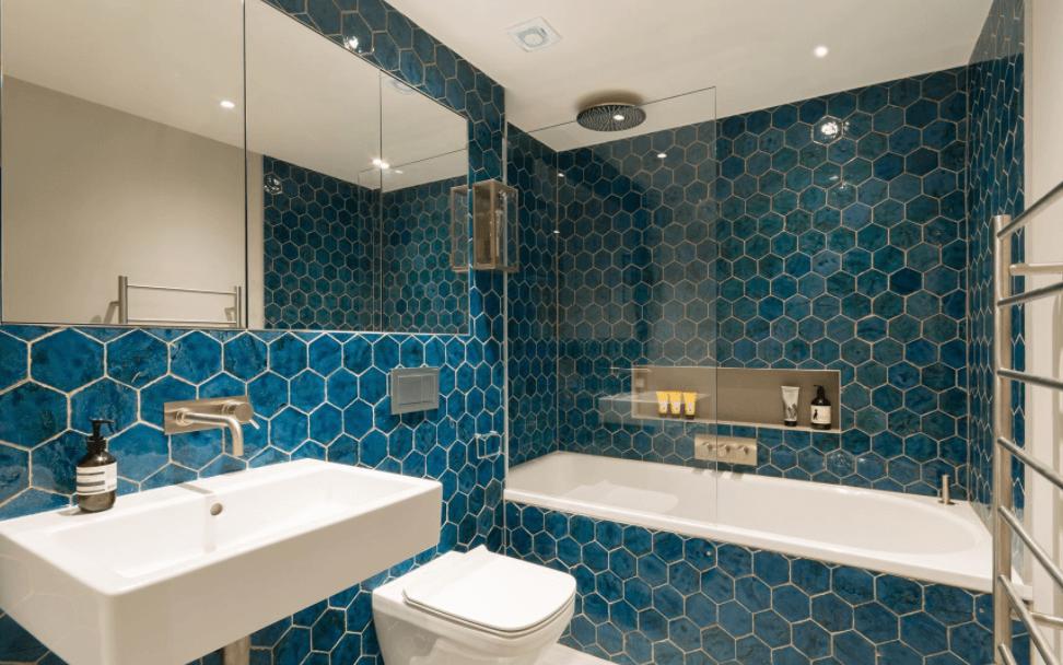 rich blue bathroom