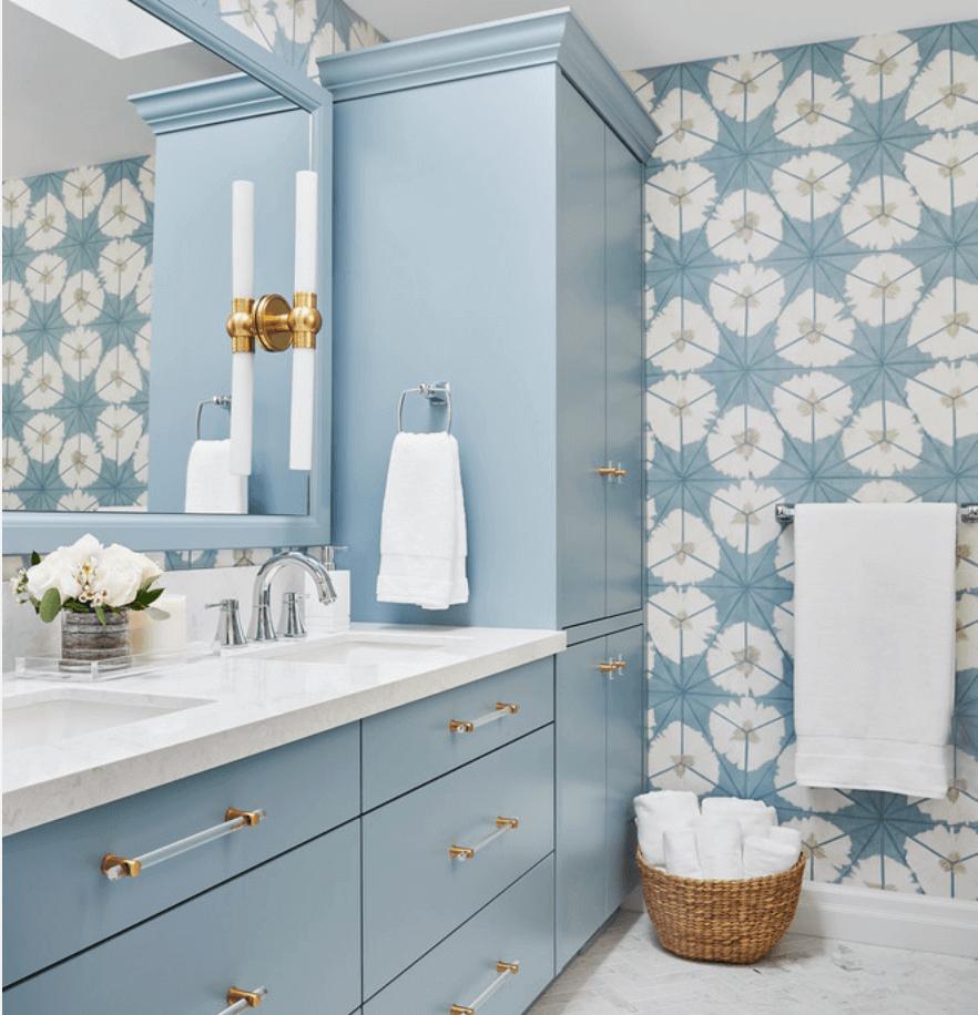 patterned blue walls