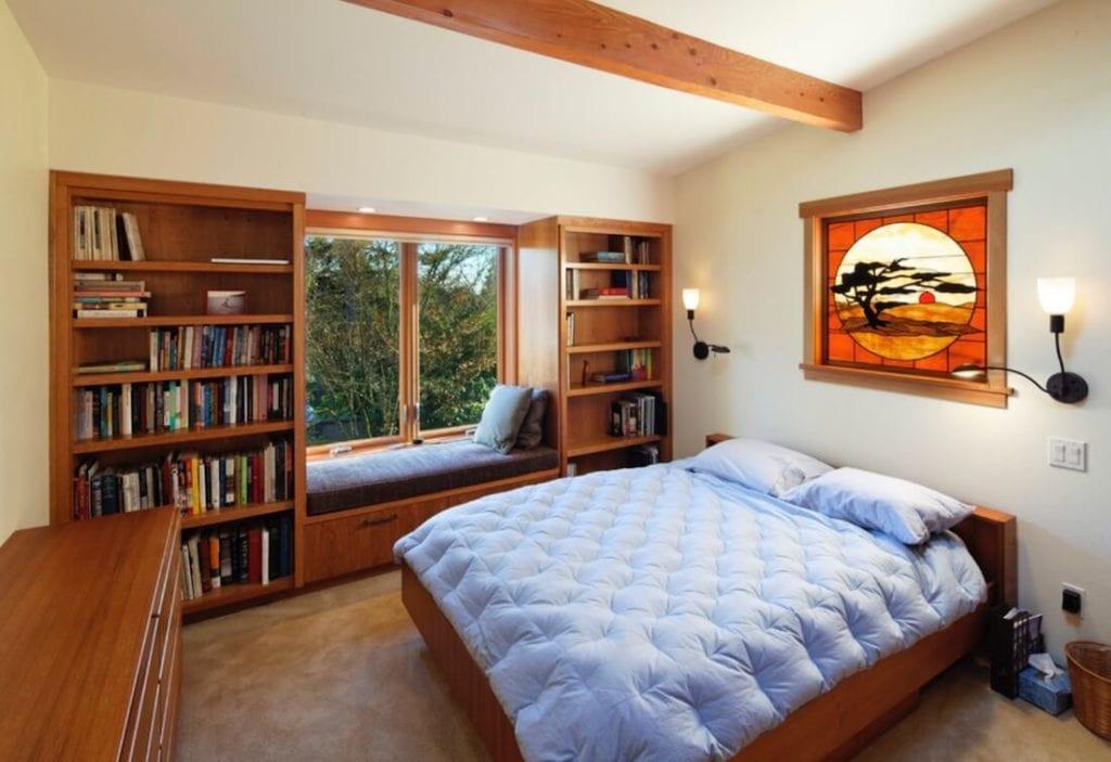 Window Seats Between Bookshelves