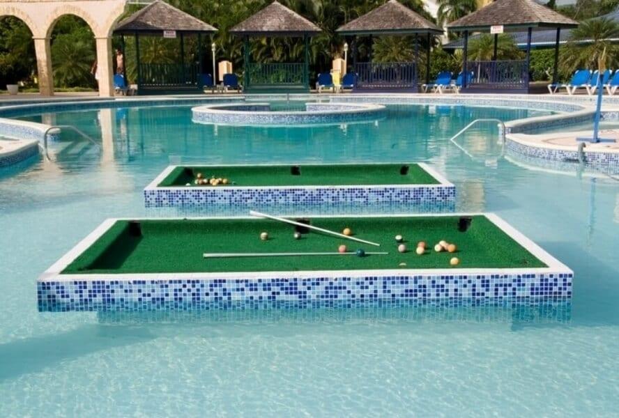 Pool table in pool
