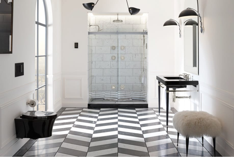 black and white bathroom chevron tile