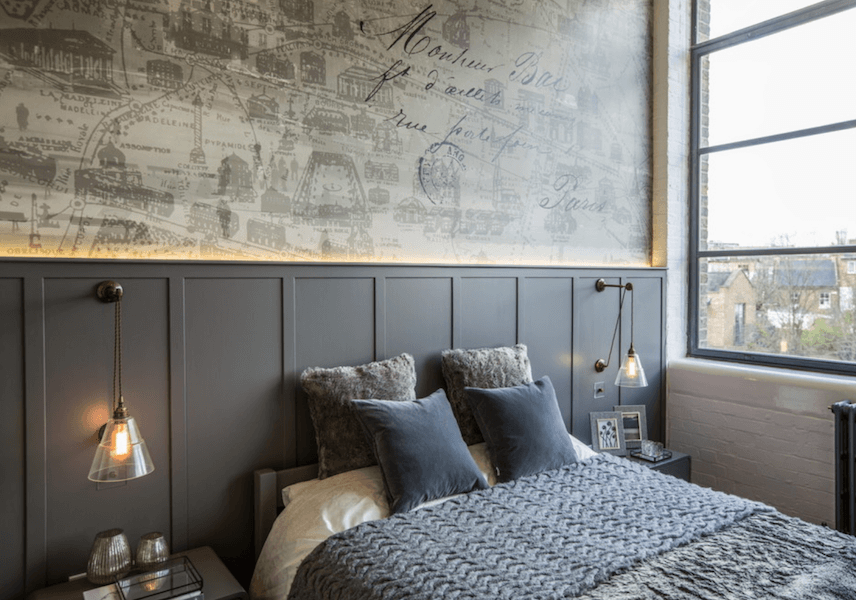 cozy bed - accent wall
