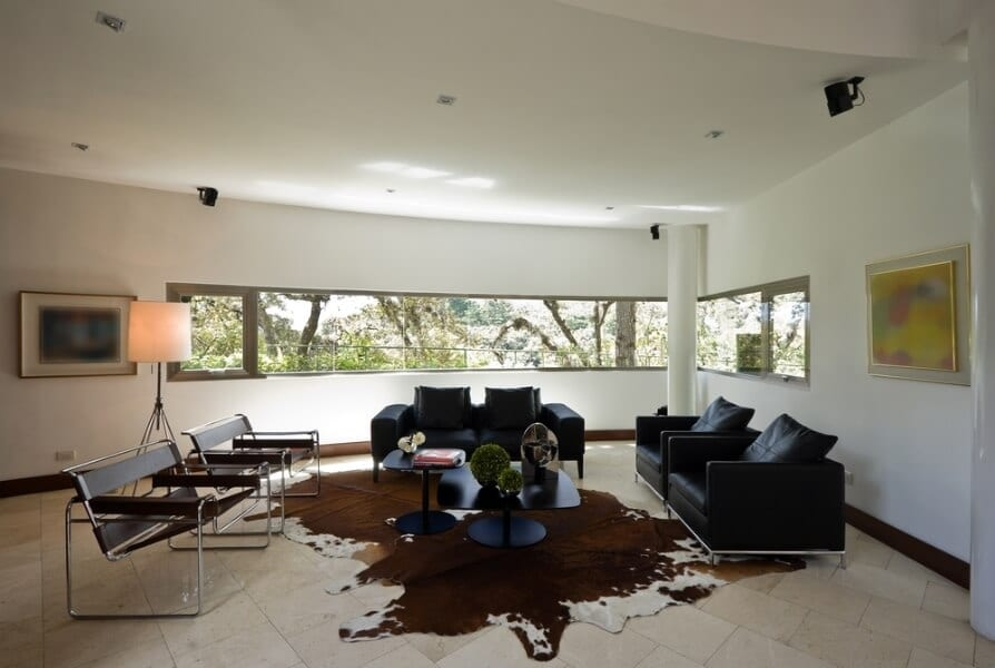 Cowhide rugs are easy to swap out