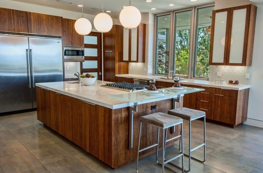 dark wood modern kitchen