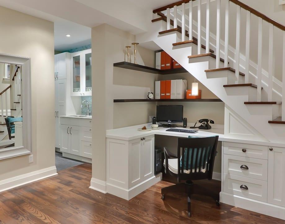 desk under stairs hidden storage