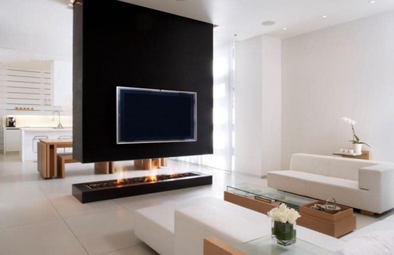 divider wall fireplace