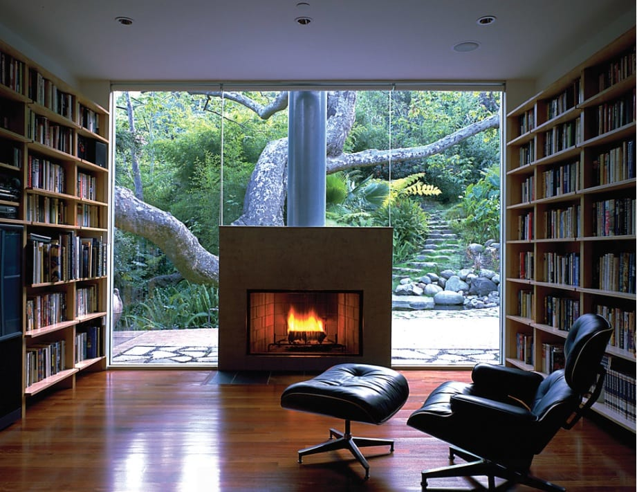 fireplace bookshelves windows