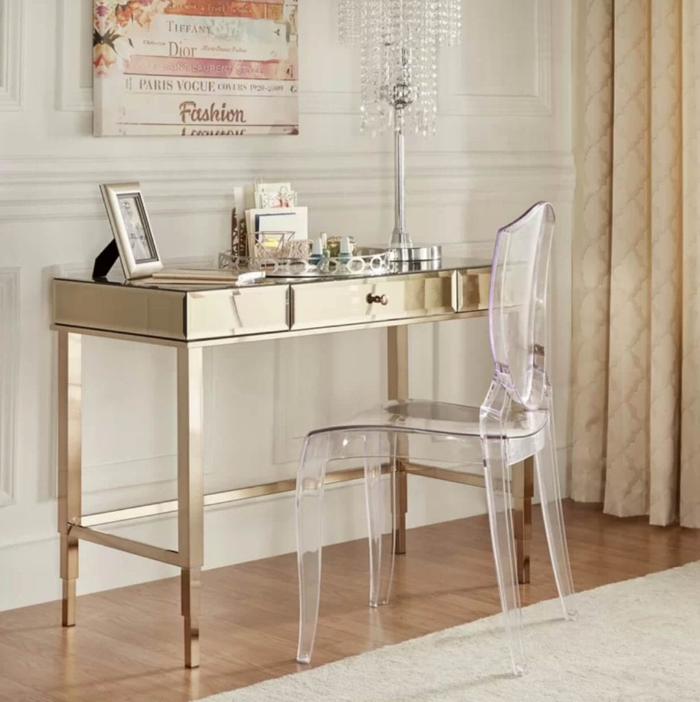 Mirrored Home Office Desk