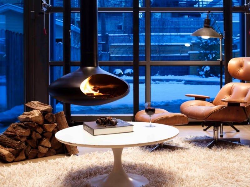 hanging fireplace idea