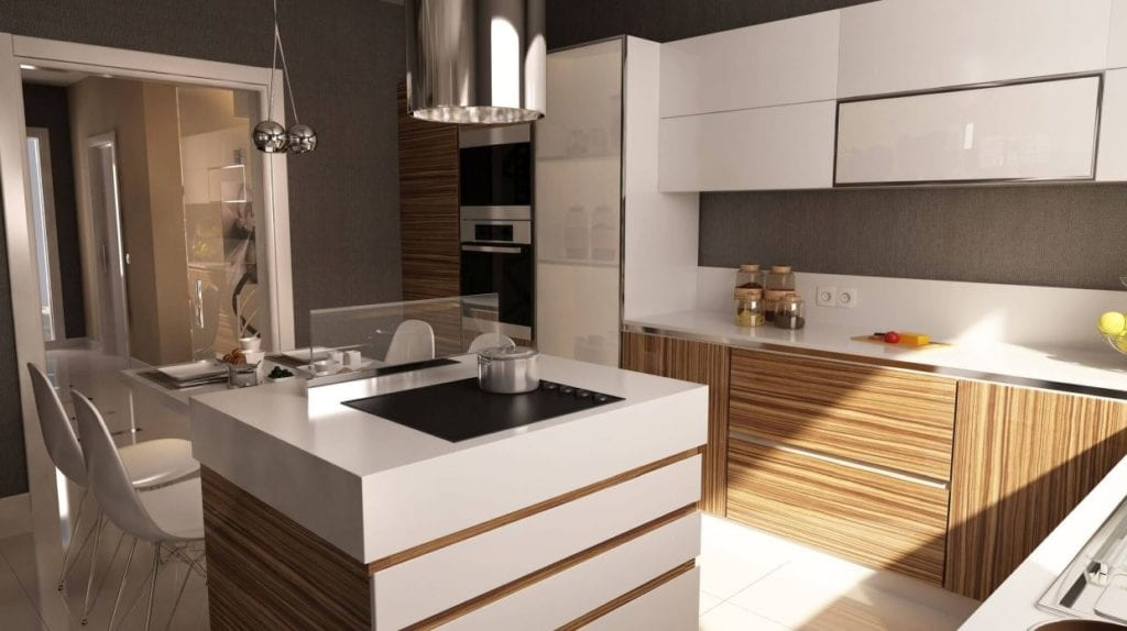 An L-shaped kitchen can also be intimate.