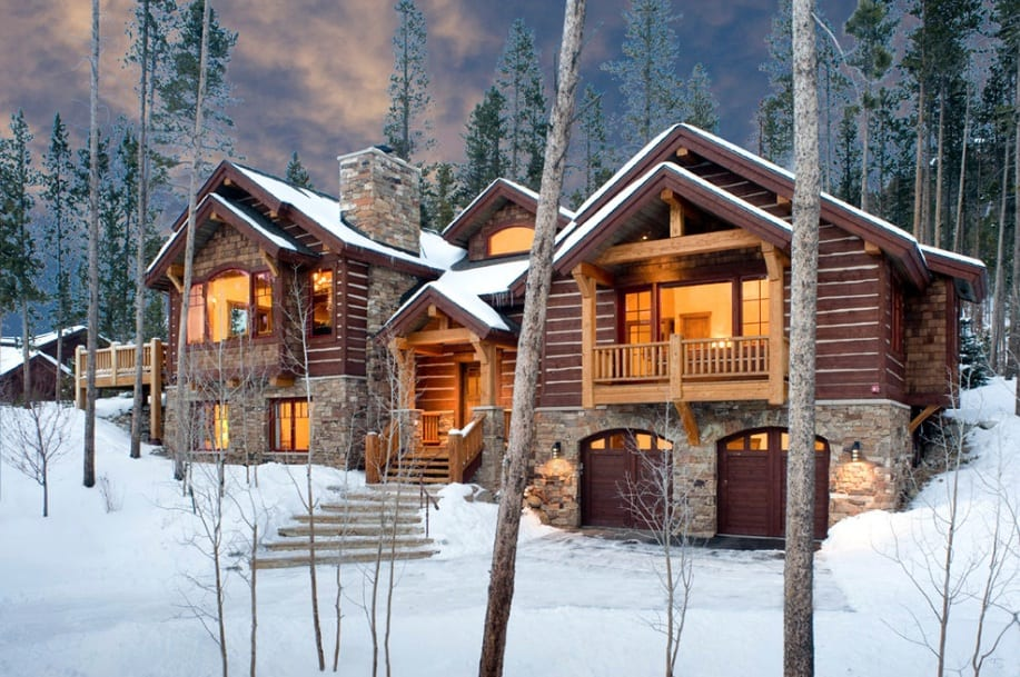 log home winter retreat
