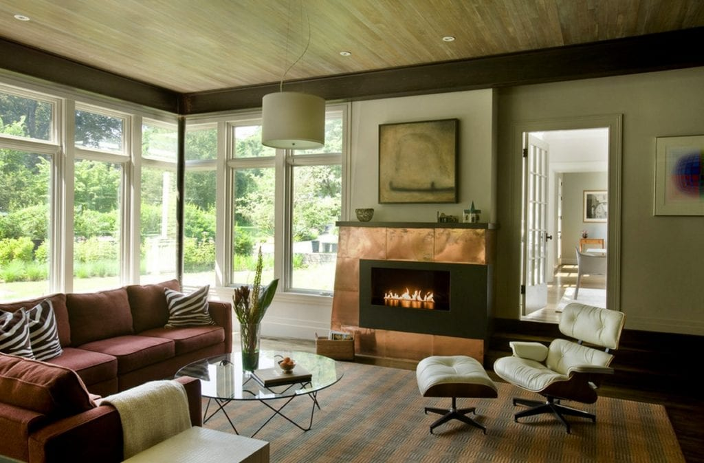 metal interiors_copper fireplace surround