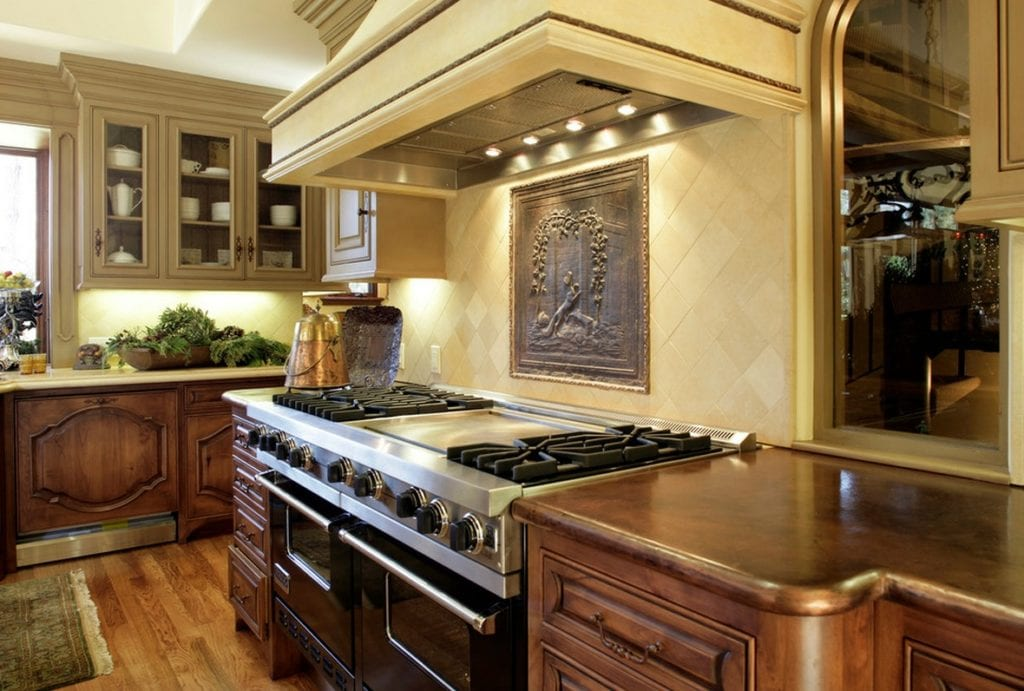 metal interiors_copper hammered countertops