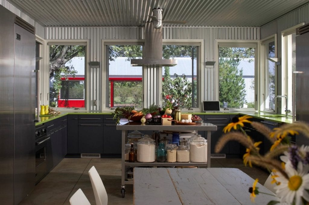 metal interiors_corrugated metal kitchen