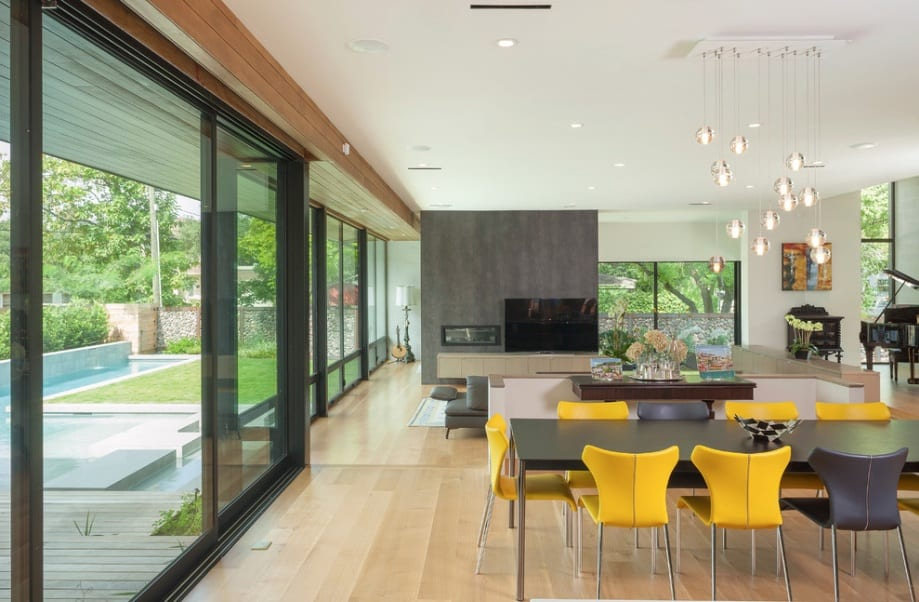 modern floor plan windows lights