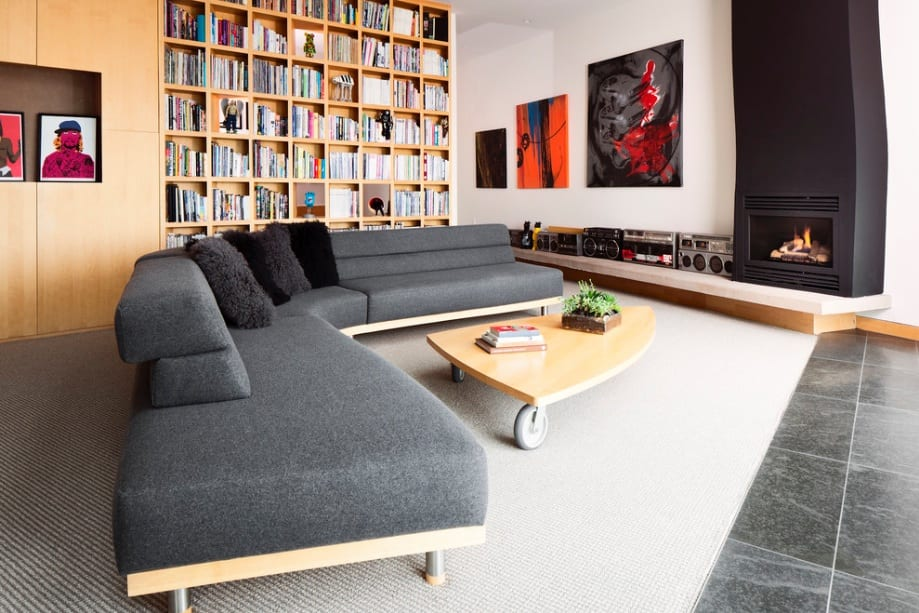modern grey sofa fireplace