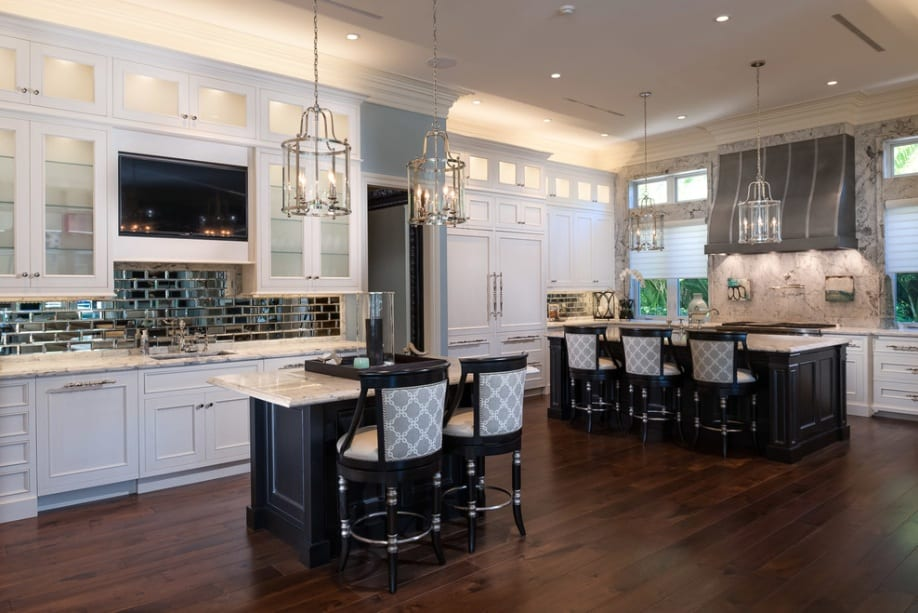 modern white kitchen backsplash