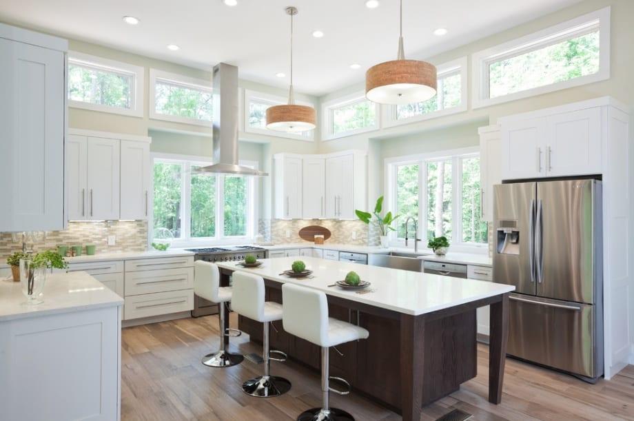 modern white kitchen big windows