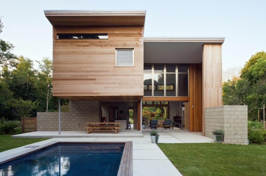 modern wood home pool
