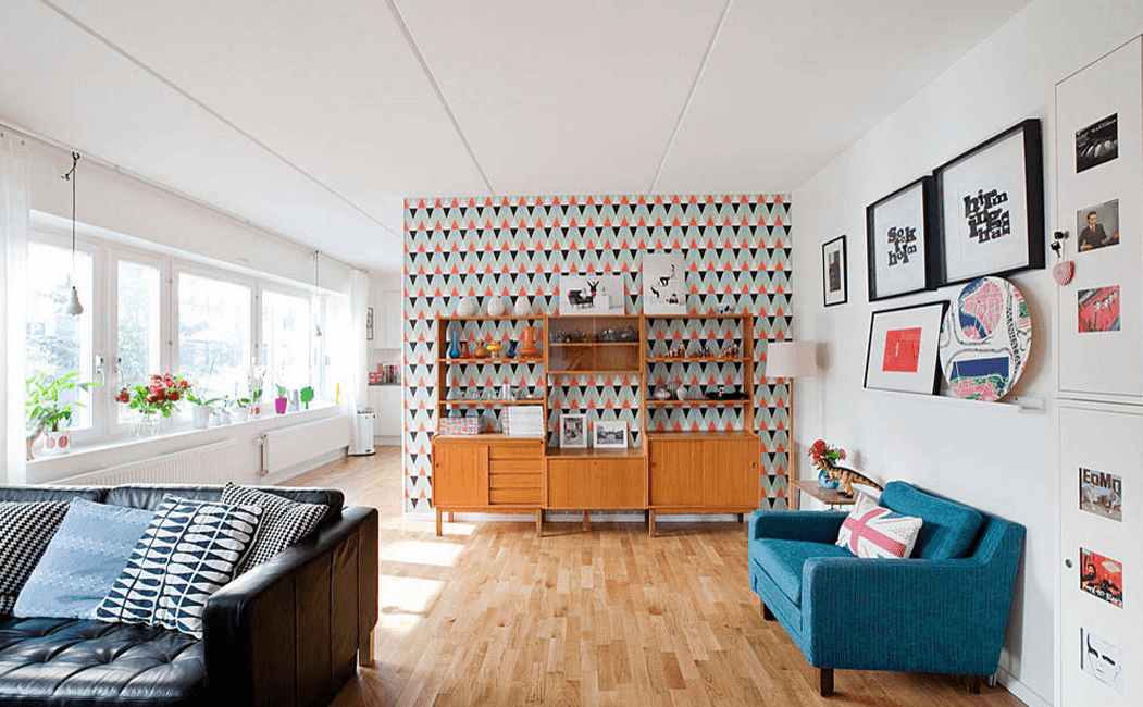 multicolored walls and light hardwoods