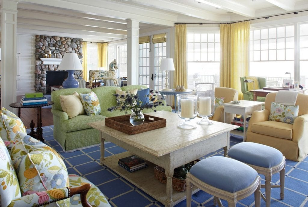pastel interiors family room cottage