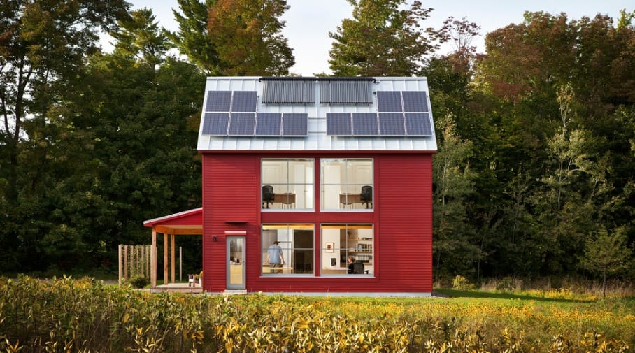 red house solar panels