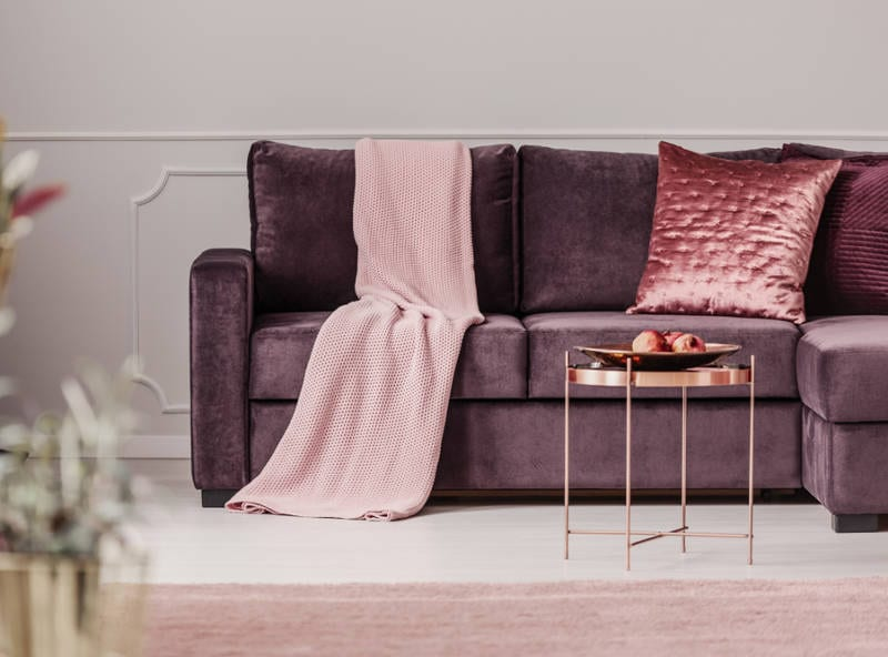 decorating with purple in the living room