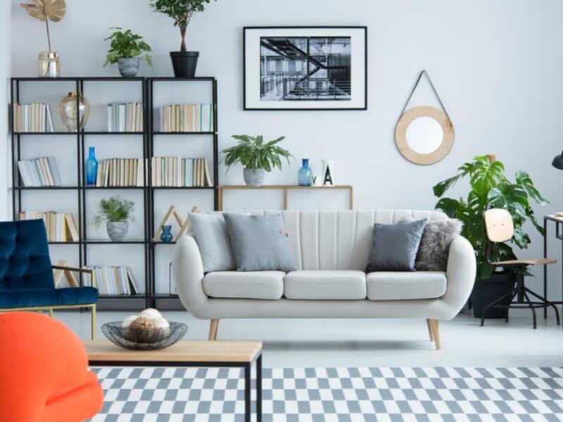 Modern living room with bookshelves